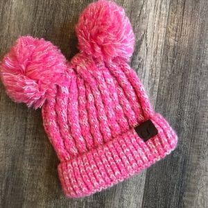 Child's CC beanie with two poms